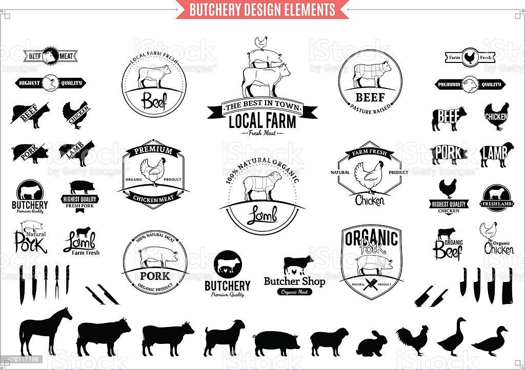 Pièces de viande, étiquettes, Logos graphiques et des éléments de conception - Illustration vectorielle