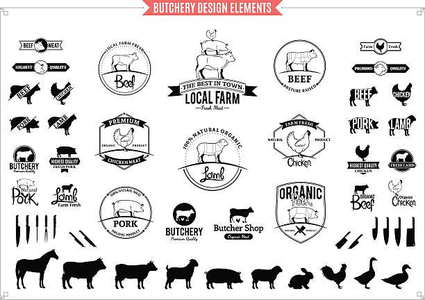 stockillustraties, clipart, cartoons en iconen met butchery logos, labels, charts and design elements - pig farm