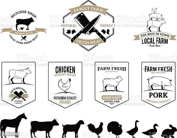 Butchery logos labels farm animals and design elements vector id476117194?b=1&k=6&m=476117194&s=612x612&h=lgh0c1jdjmaapfmnwxzw3g pobzksjoal kd3syme2q=