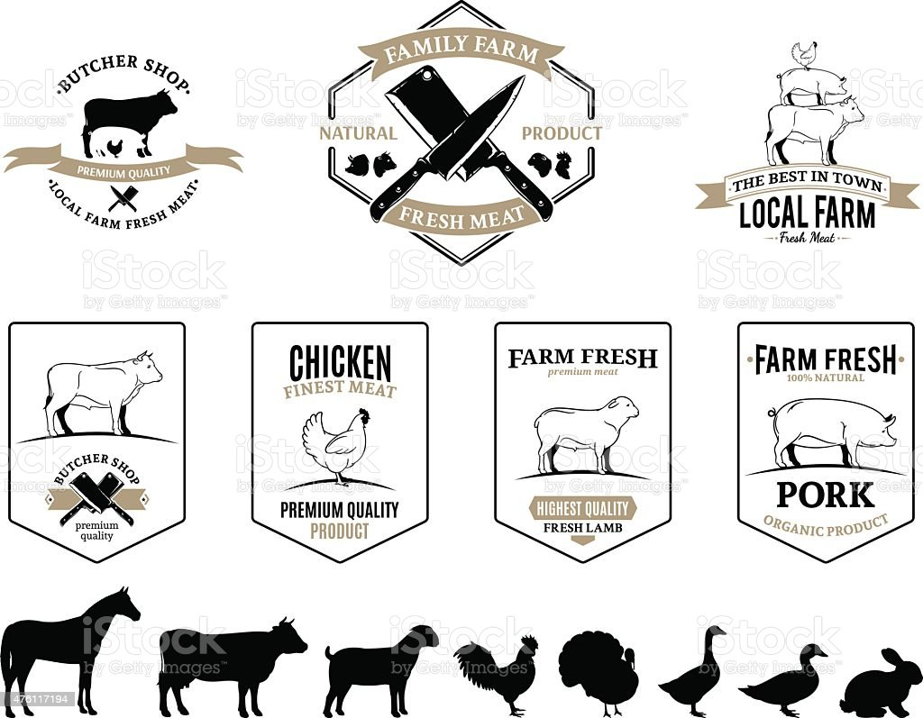 Butchery Logos, Labels, Farm Animals and Design Elements vector art illustration