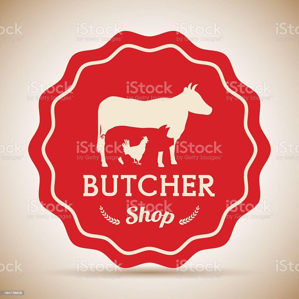 À thème et pièces de viande de boucherie - Illustration vectorielle