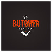 Butchery symbol. Butcher meat shop with knife and cleaver 10 eps