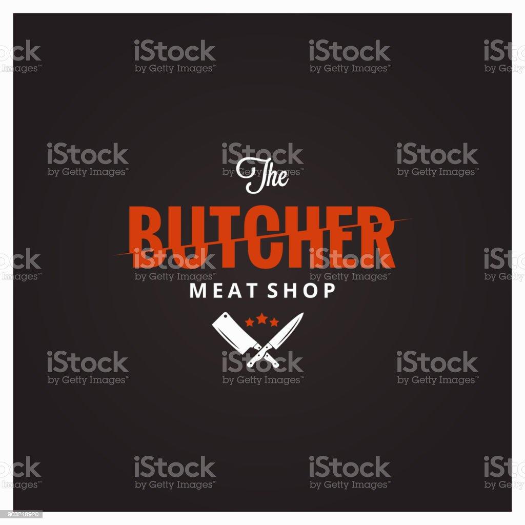 Symbole de la boucherie. Viande de boucherie avec couteau et cleaver - Illustration vectorielle