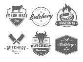 Butchery vector badges. BBQ, grill, meat, barbecue, steak. Retro emblems for steak house or grill bar.