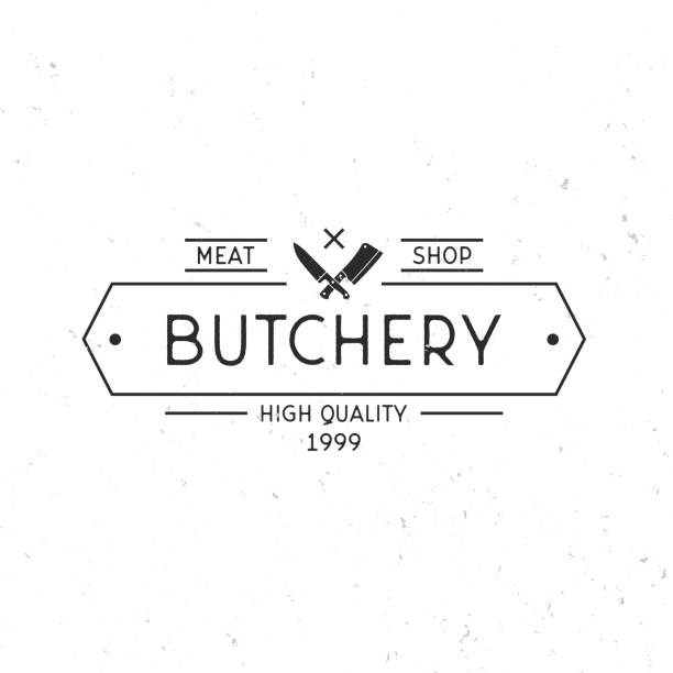 ilustrações de stock, clip art, desenhos animados e ícones de butchery - vintage symbol concept. butcher shop symbol. vintage frame and meat knives. meat shop symbol template. grunge texture. vector illustration - meat texture