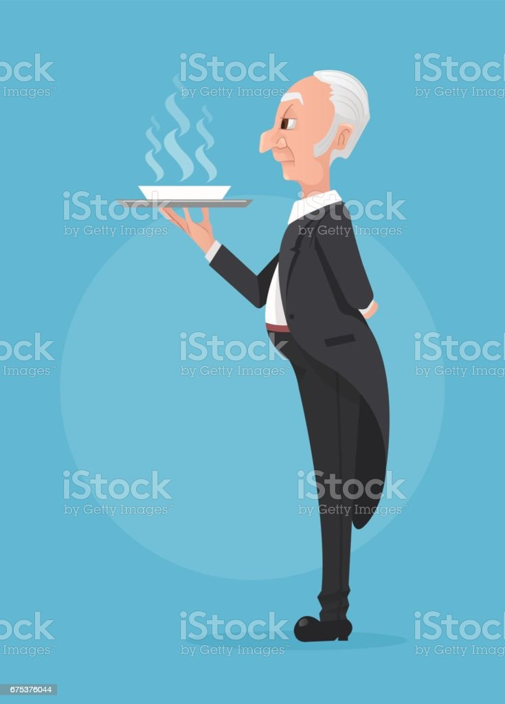 Butler in black tuxedo holding tray with soup dish vector art illustration