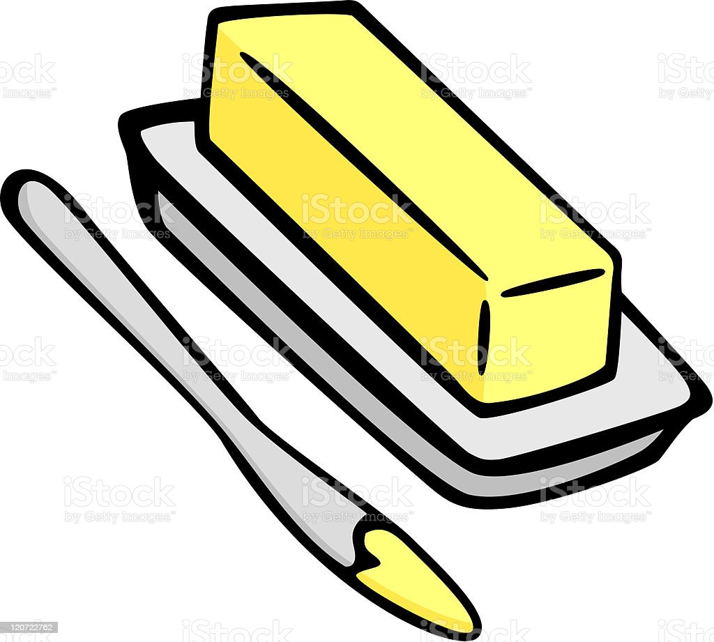 butter and spreading knife royalty-free stock vector art