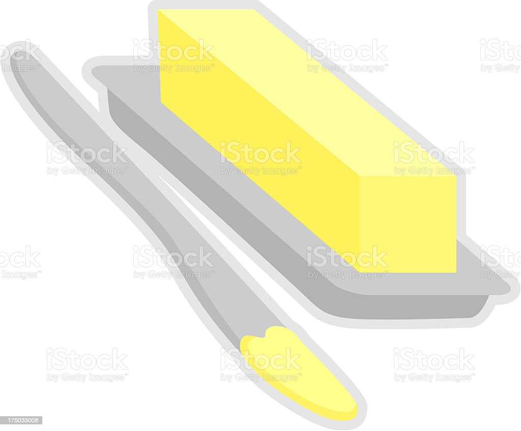 butter bar in dish with spreading knife royalty-free stock vector art