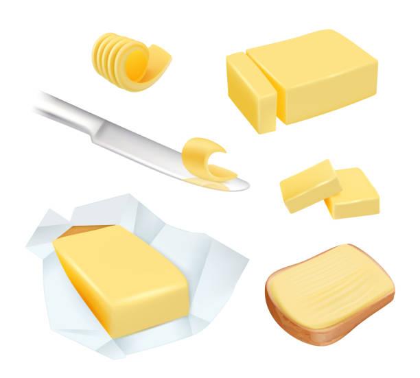 stockillustraties, clipart, cartoons en iconen met boter. calorie product margarine of melk boter blokken zuivel ontbijt voedsel vectorafbeeldingen - boter