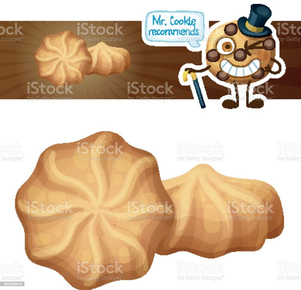 Butter cookies illustration. Cartoon vector icon isolated on white background. Series of food and drink and ingredients for cooking. vector art illustration