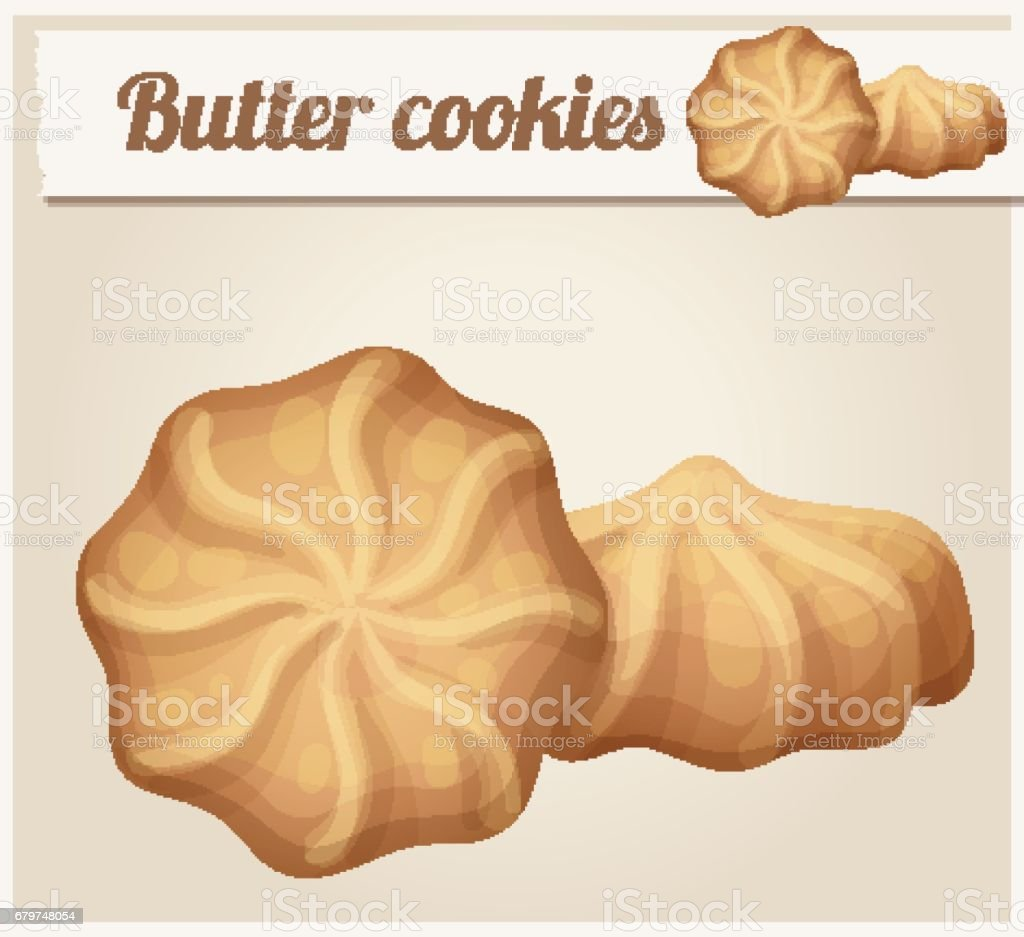 Butter cookies illustration. Cartoon vector icon. Series of food and drink and ingredients for cooking. vector art illustration