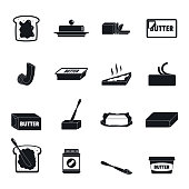 Butter curl block icons set. Simple illustration of 4 butter curl block vector icons for web