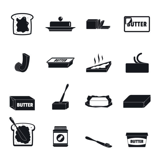 stockillustraties, clipart, cartoons en iconen met boter curl blok iconen set, eenvoudige stijl - boter