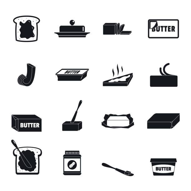 ilustrações de stock, clip art, desenhos animados e ícones de butter curl block icons set, simple style - manteiga