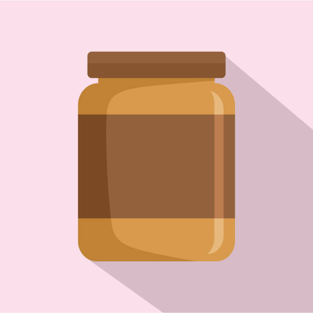 ilustrações de stock, clip art, desenhos animados e ícones de butter jar icon, flat style - jam jar