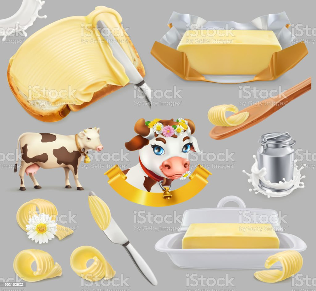 Butter. Milk farm. 3d realistic vector icon set - Royalty-free Alimentação Saudável arte vetorial