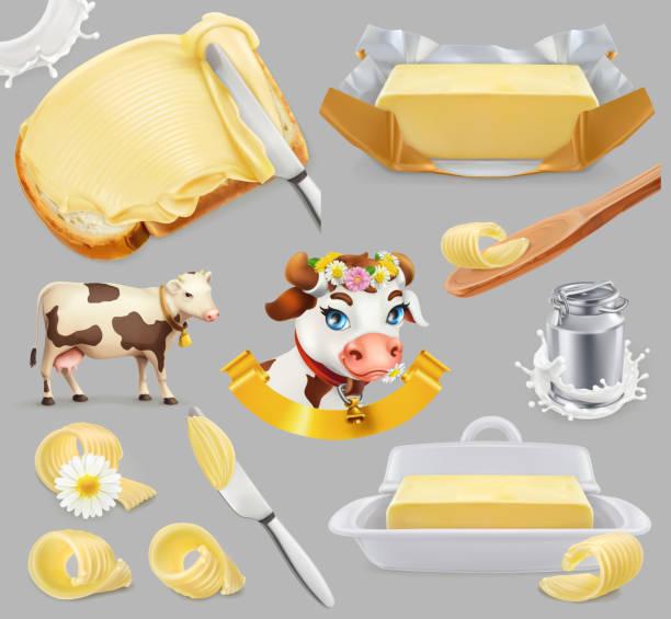 ilustrações de stock, clip art, desenhos animados e ícones de butter. milk farm. 3d realistic vector icon set - manteiga