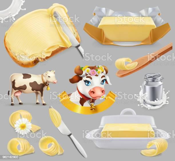 Butter Milk Farm 3d Realistic Vector Icon Set - Arte vetorial de stock e mais imagens de Alimentação Saudável