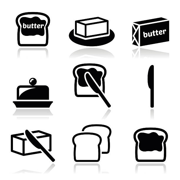 Butter or margarine vector icons set Food icons set - butter on bread slice, butter pack isolated on white  spreading stock illustrations