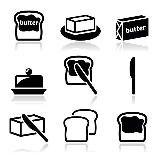 ilustrações de stock, clip art, desenhos animados e ícones de a manteiga, margarina vetor ícones conjunto - manteiga