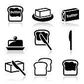 Butter or margarine vector icons set