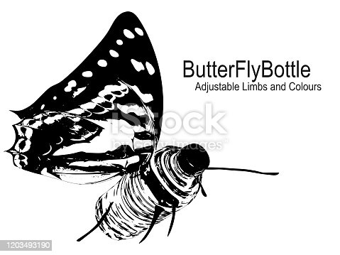 Amalgamation of a Standard Plastic Water Bottle with a  Butterfly. All parts of the ButterBottle image, limbs and background are editable and colours can be changed. Full Vector.