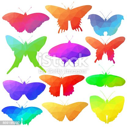 A vector illustration of butterflies filled with a low polygon.