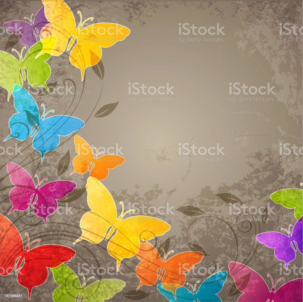 Butterflies and floral ornament royalty-free stock vector art