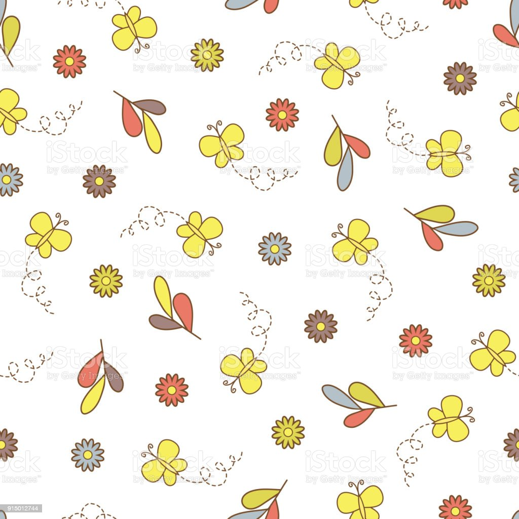 Butterflies And Flowers Floral Background Kids Seamless Pattern Wallpaper For Children Royalty