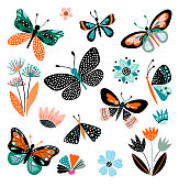 Butterflies and flowers, hand drawn collection of different elements, isolated on white