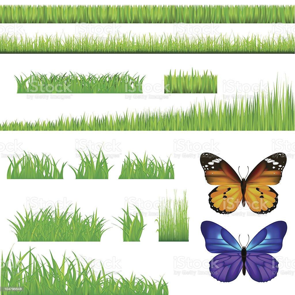 Butterflies And Green Grass Set royalty-free stock vector art