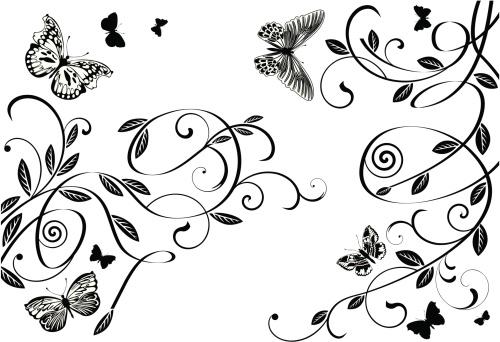 Butterflies and scrolls