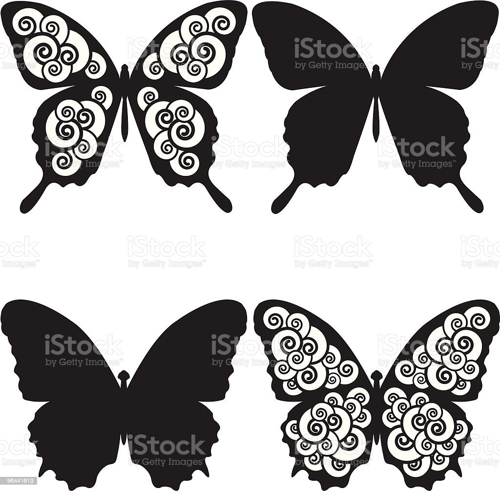 Butterflies and Spirals sihouettes. - Royalty-free Abstract vectorkunst