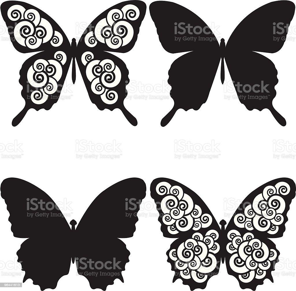 Borboletas e espirais sihouettes. - Vetor de Abstrato royalty-free