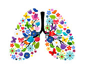 Butterflies and spring flowers in shape of human lungs. Vector floral flower and color summer artwork illustration