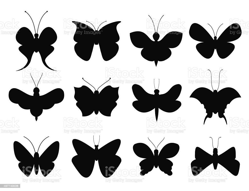 Ilustración De Mariposas Blanco Y Negro Estilo Plano