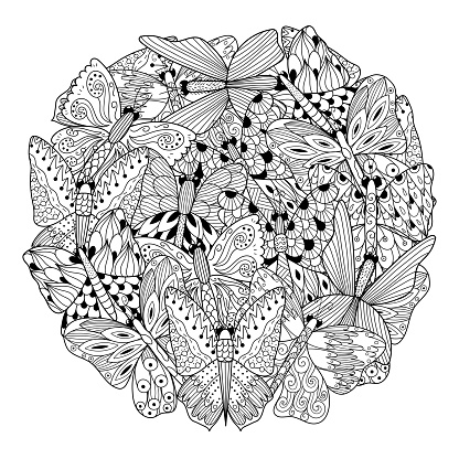 Butterflies circle shape coloring page. Black and white print