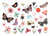 istock Butterflies, flowers and birds hand drawn collection 1205478055