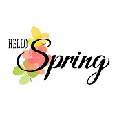Butterflies, flowers with leaves and grungy hello spring lettering