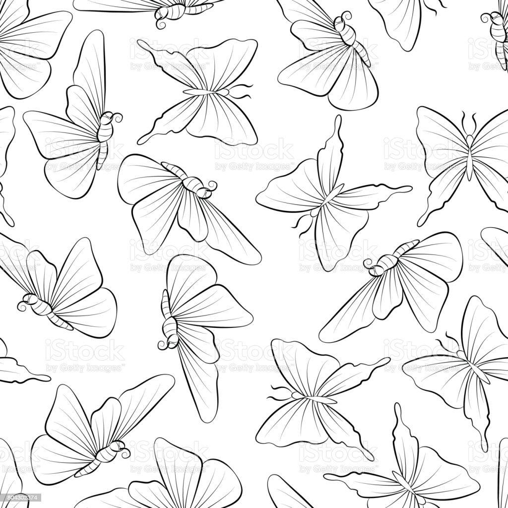 蝶は飛ぶの塗り絵です春の自然を落書き いたずら書きのベクターアート