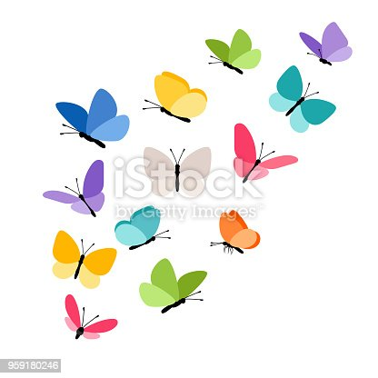 Butterflies in flight. Colorful tropical butterfly decorative elements on white for design, vector illustration