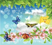 butterflies in the spring flying in the air