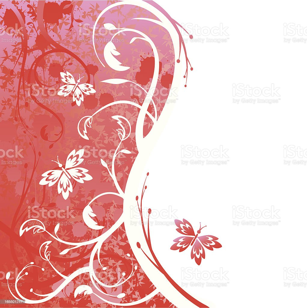 Butterflies on a Red Background royalty-free stock vector art