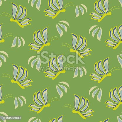 istock butterflies on green seamless vector pattern 1250533539