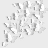 istock Butterflies paper cut on white background. 1301186666