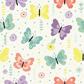 Butterflies. Seamless pattern with cute butterflies, flowers and herbs. Nature,spring.  All elements are  hidden under mask. Pattern are not cropped and can be edited. Cute vector illustration.