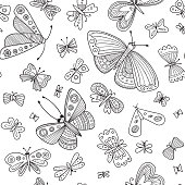Butterflies seamless pattern in Boho style with ornaments. Can be printed and used as wrapping paper, wallpaper, textile, coloring page, fabric, etc.