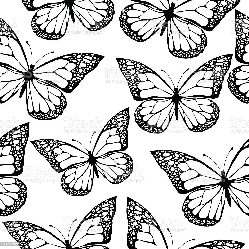 Mariposas Patrón Continuo Monocromo Para Colorear Libro Blanco Y ...