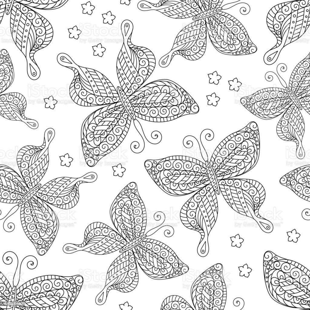 Farfalle Motivo Senza Interruzioni Monocromatico Libro Da Colorare