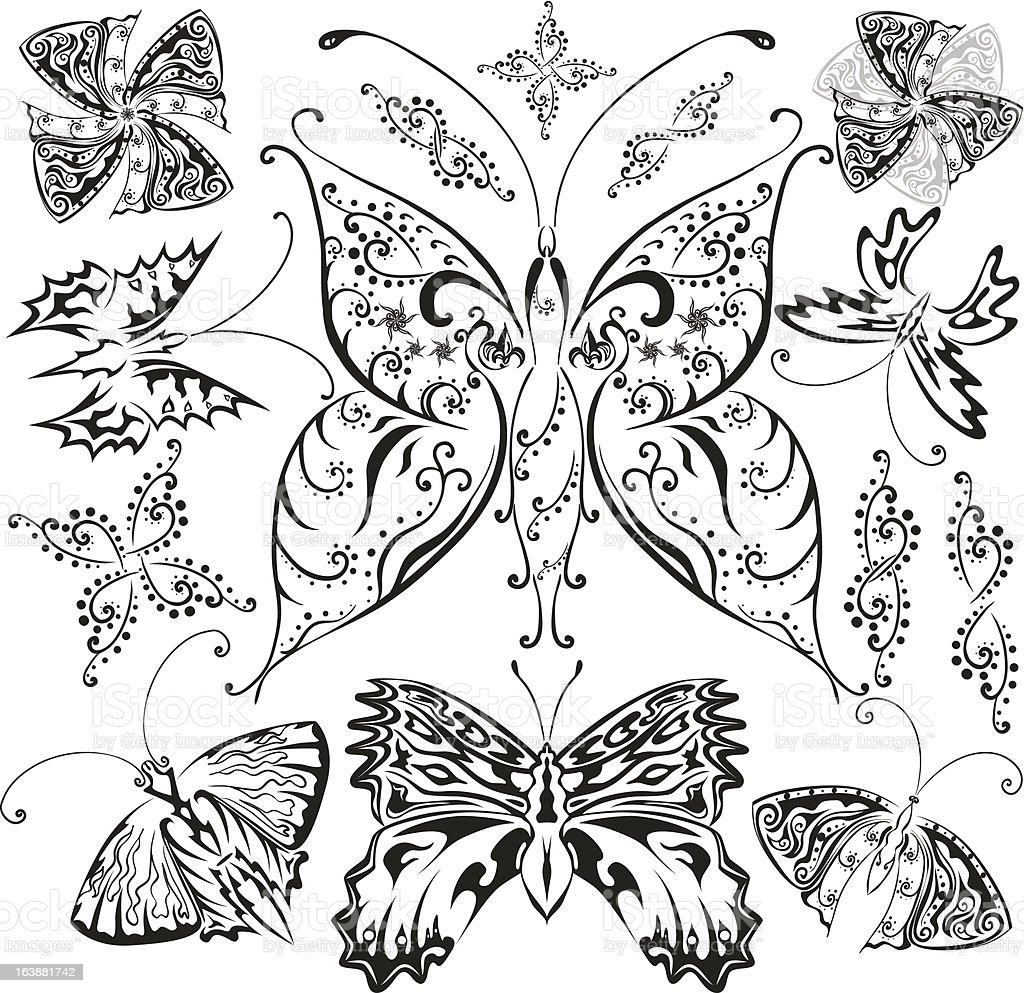 Butterflies set with flowers and decorative elements royalty-free butterflies set with flowers and decorative elements stock vector art & more images of abstract